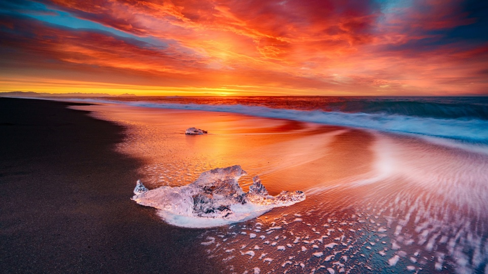 Ice Beach Sunset