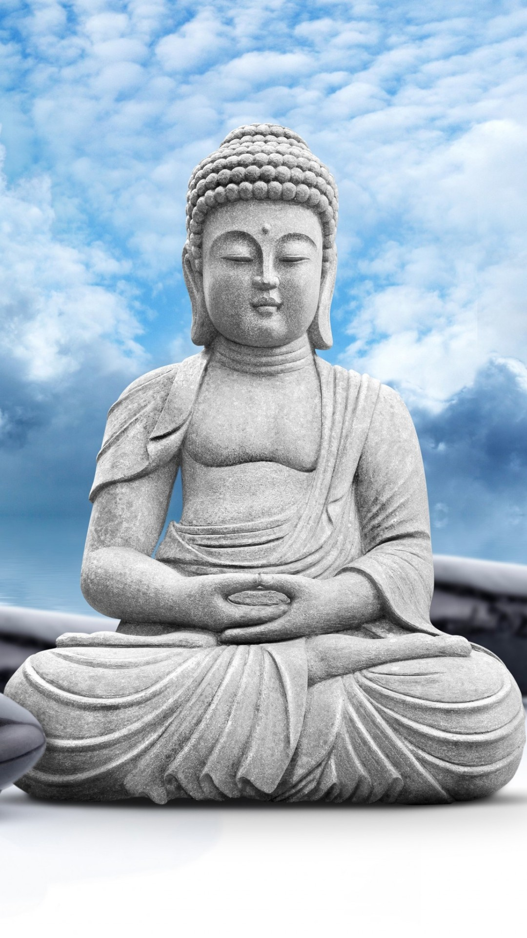 lord buddha statue sky clouds wallpapers 1080x1920 588396