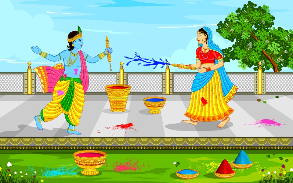 Lord Krishna And Radha Playing Holi