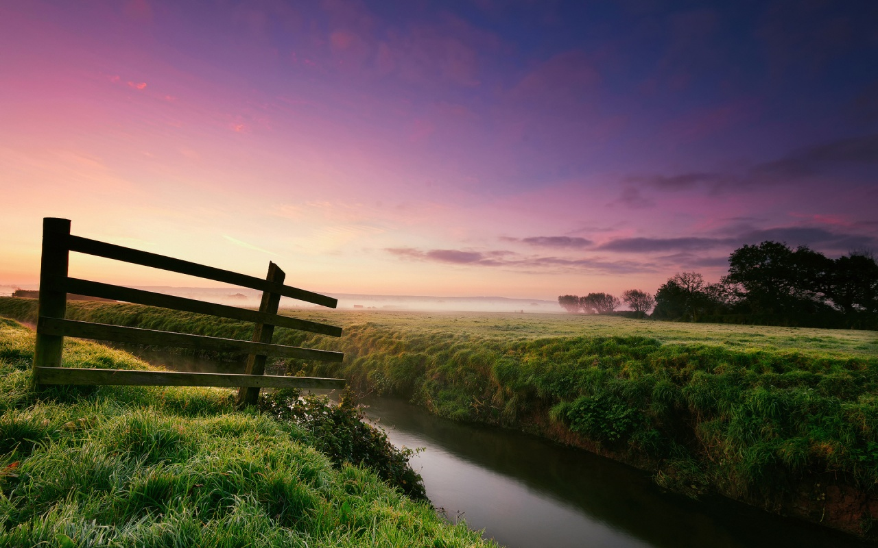 Morning River Grass Fence