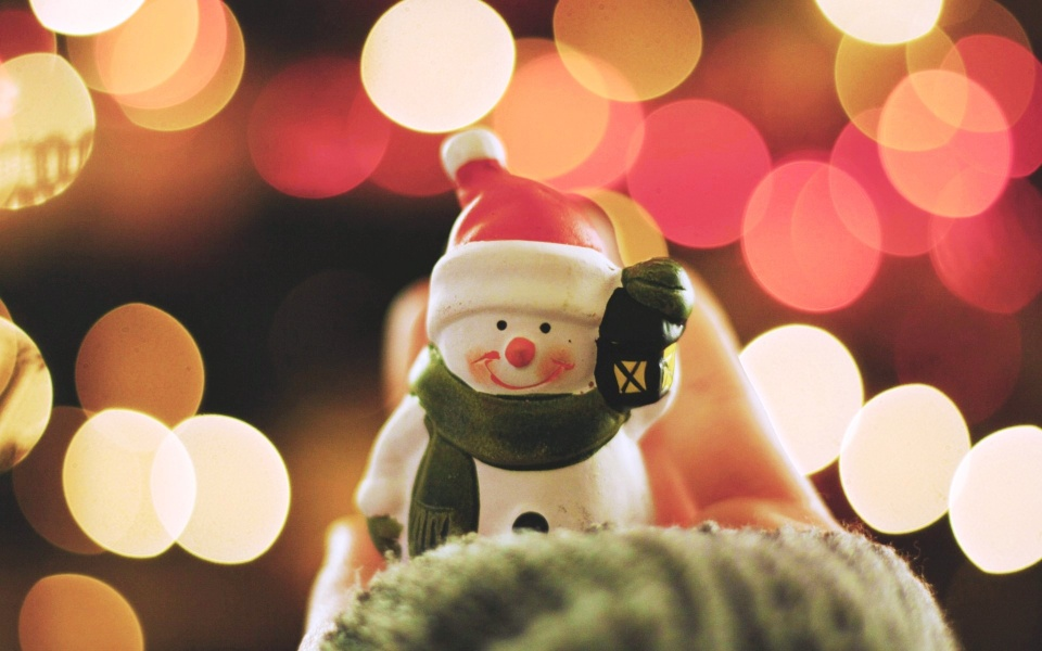 New Year Bokeh Snowman Smile