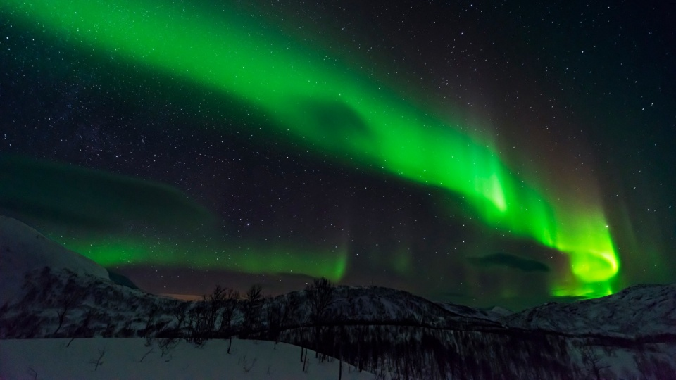 Northern Lights Stars Mountains Night