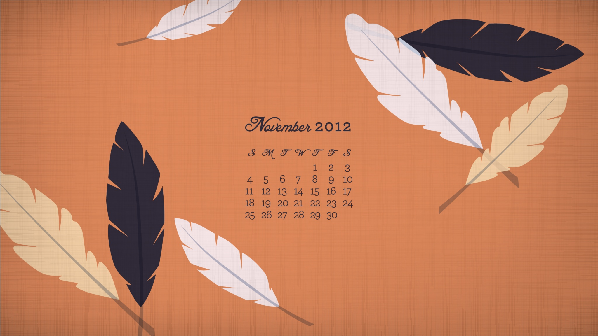 november 2012 calendar feather -#main
