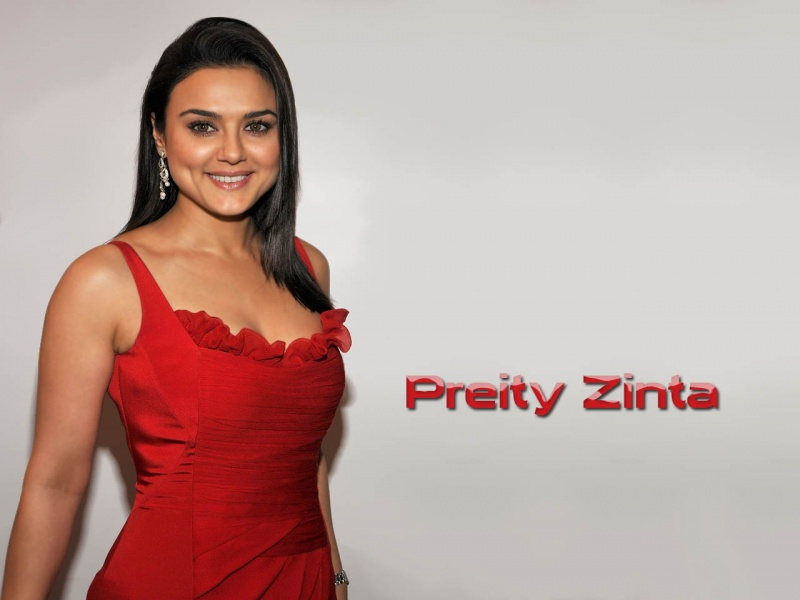 Preity Zinta In Red Dress