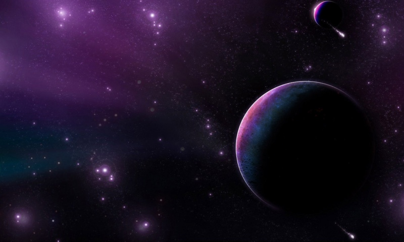 Purple Planet Star Comet