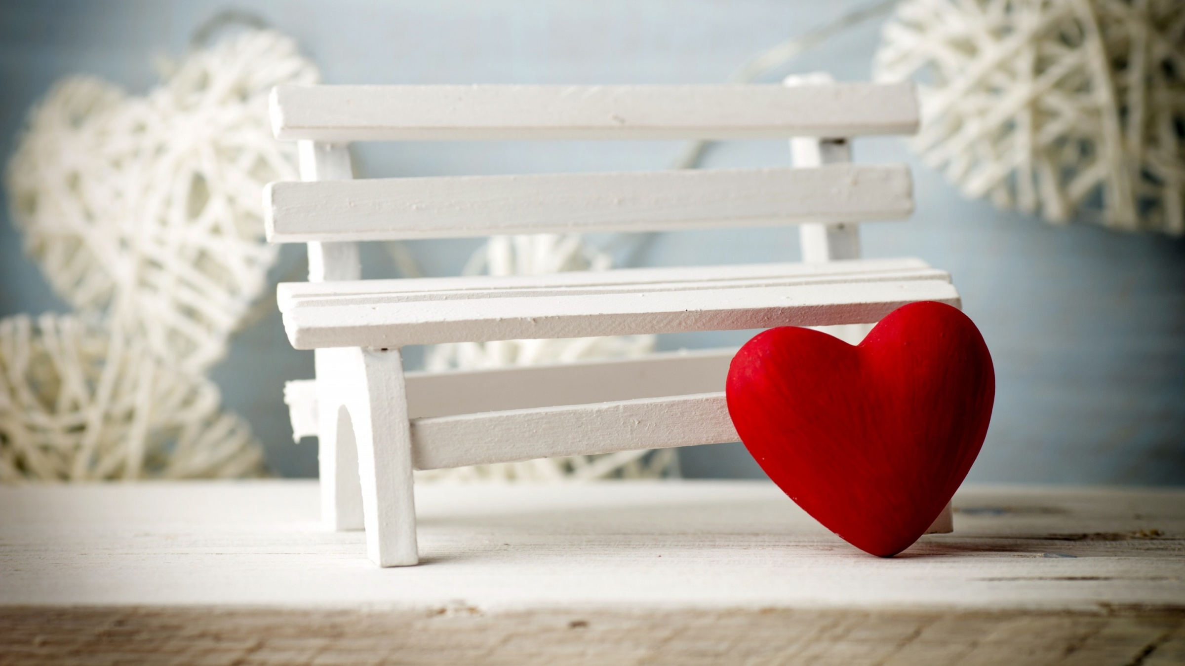 Romantic Red Heart And White Bench