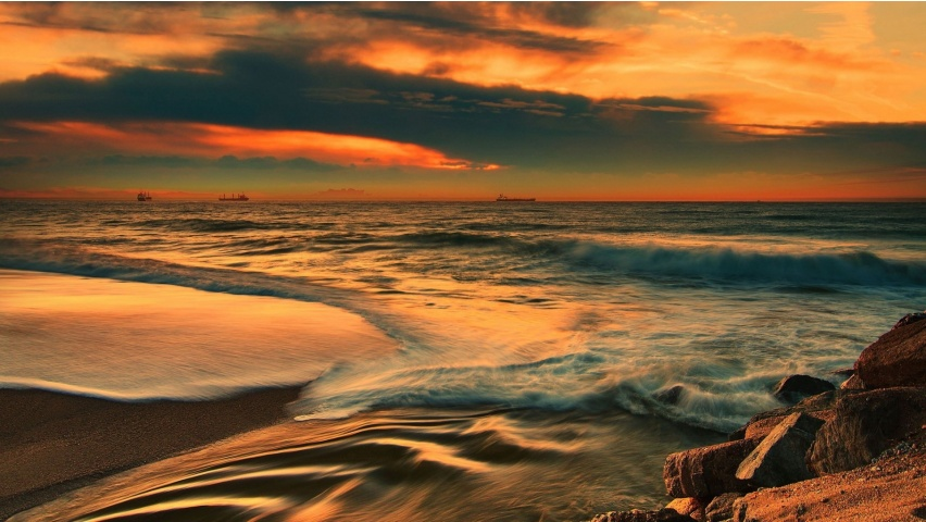 Sea Beach Waves Sunset