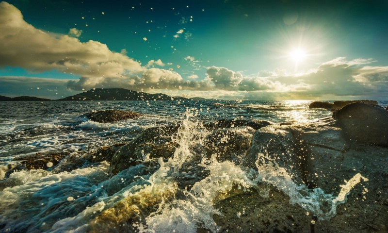 Sea Waves Splashing on The Rocks
