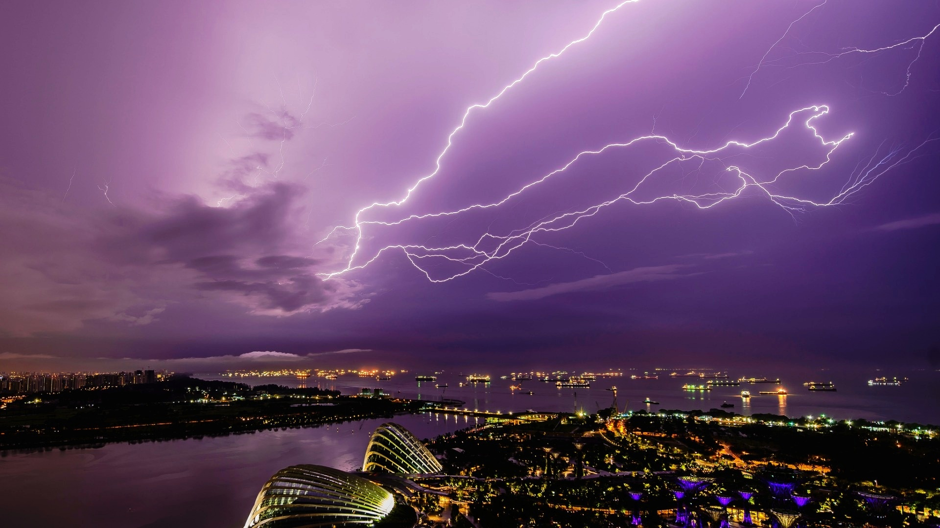 Singapore City Night Thunderstorm