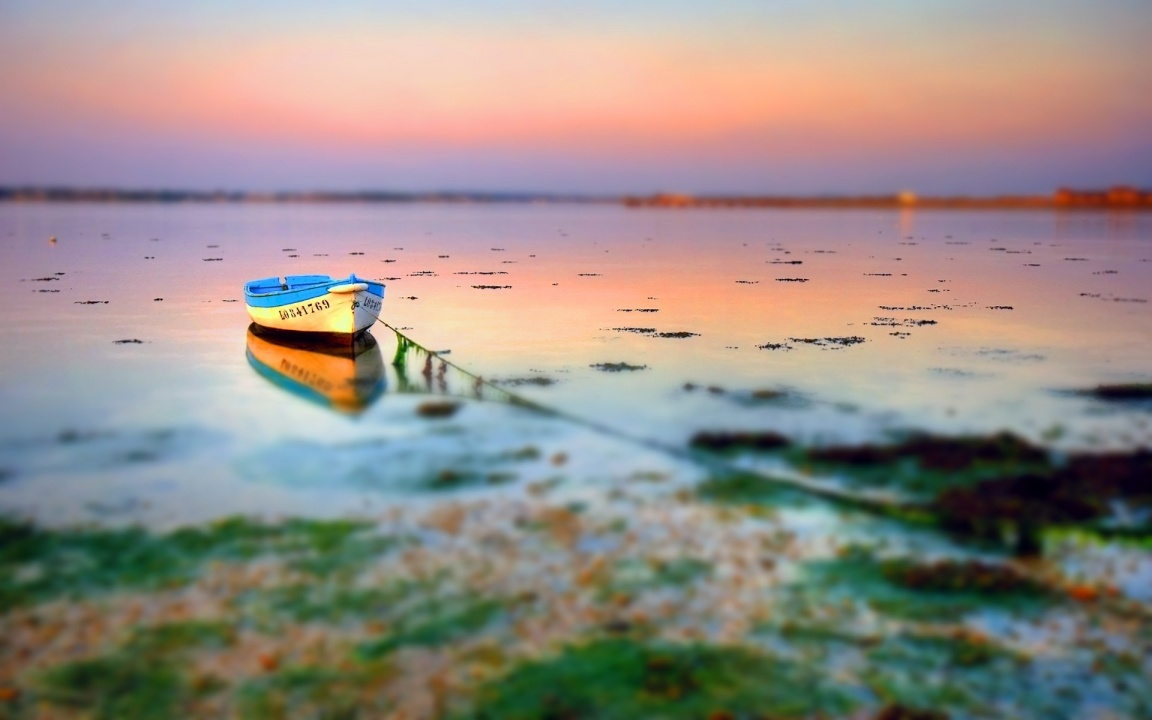 Small Boat at Shore with Tilt Shift Effect