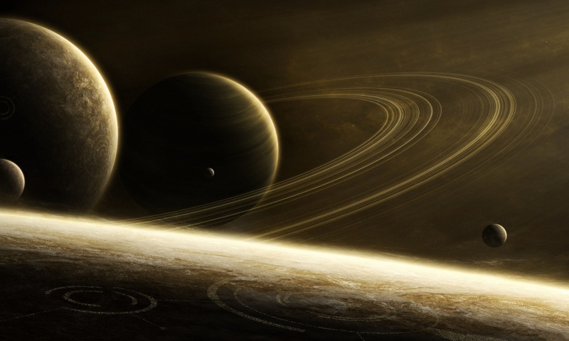 Space Ring Planets Art