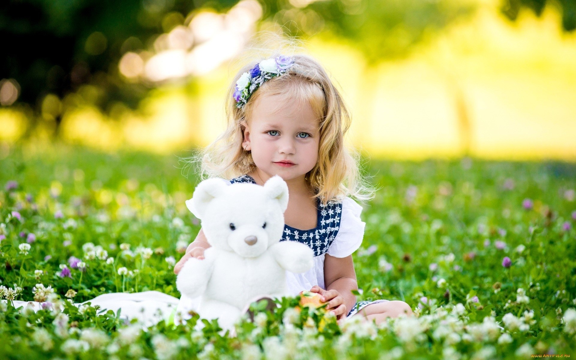 Summer Girl With White Bear