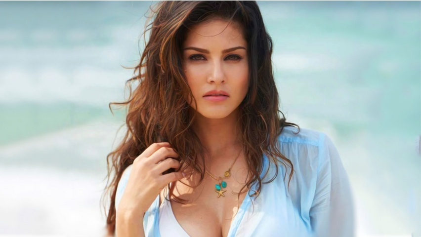 Sunny Leone In Blue Shirt