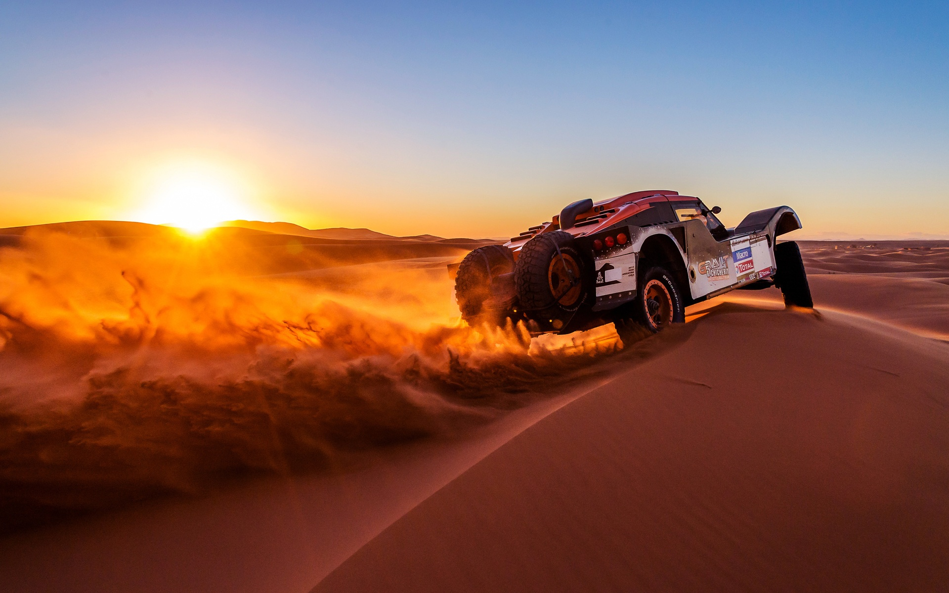 Sunset Over Buggy In Dakar Rally
