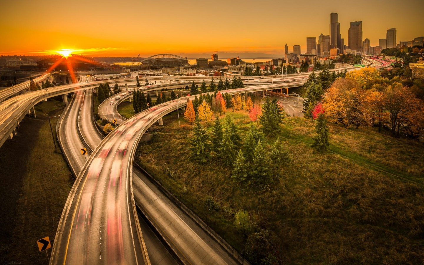 Sunset Seattle City Washington USA