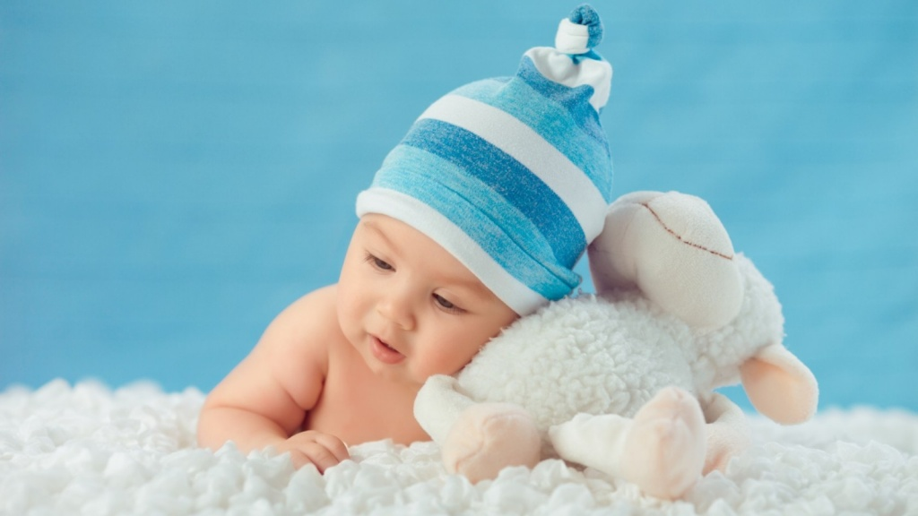 Sweet Baby And White Sheep Toy