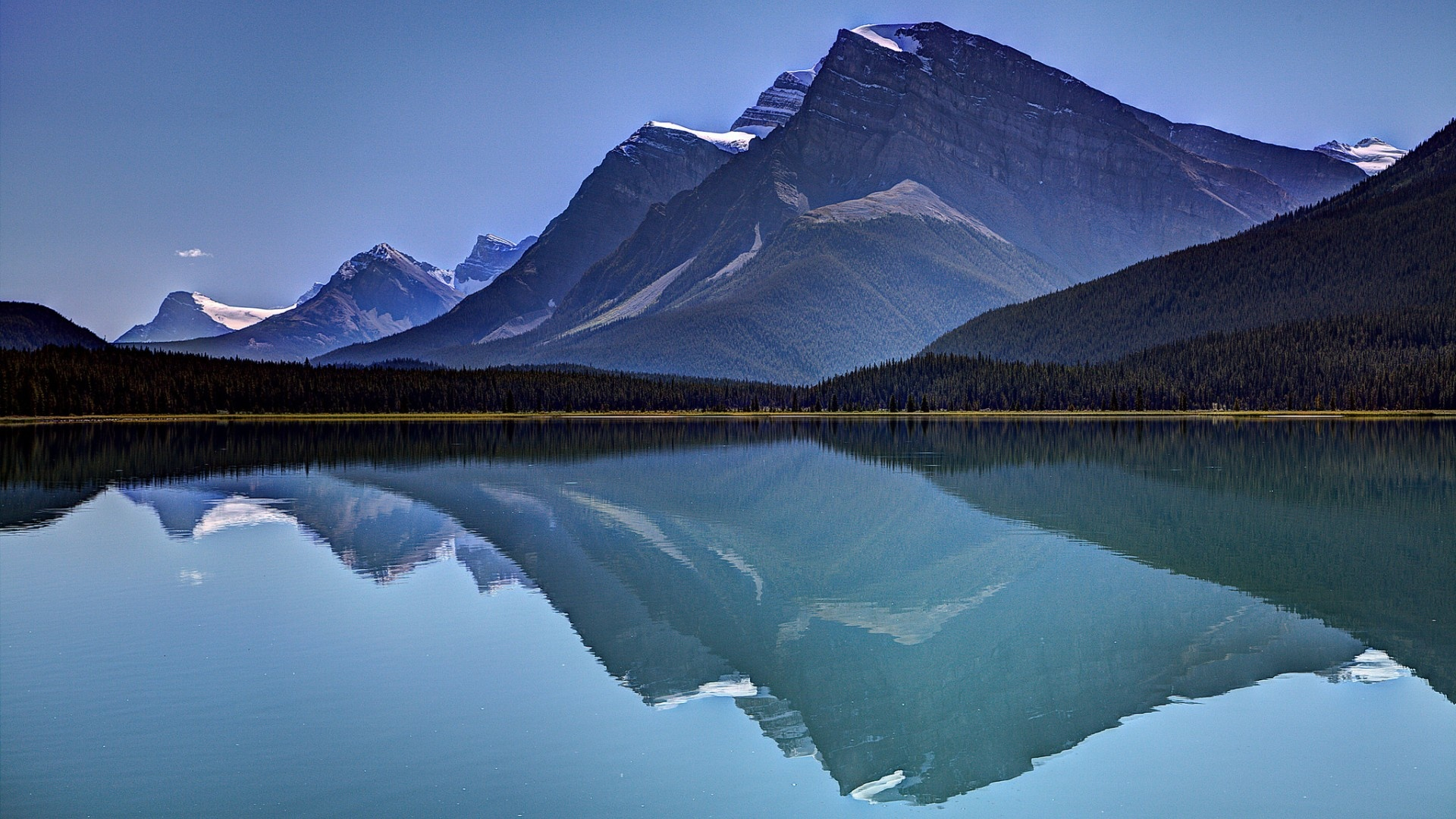 mountains sky lake reflection-#main