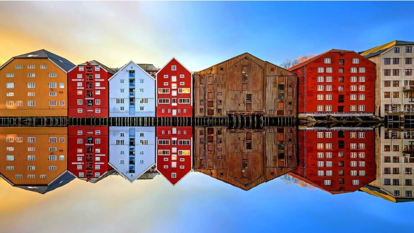 Trondheim House Reflection Norway