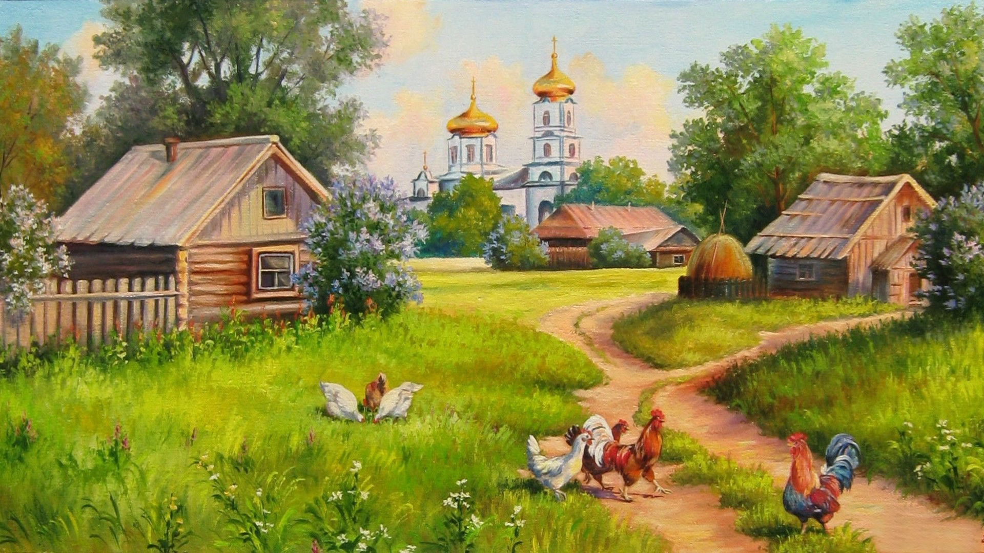 Home Wallpaper Life: Village Painting Hd Wallpaper