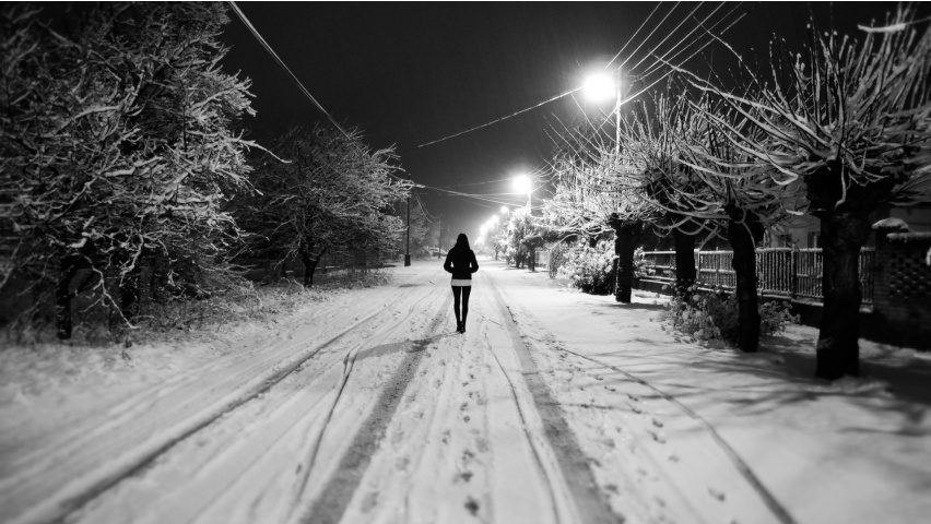White Snow Night Alone Girl Wallpapers