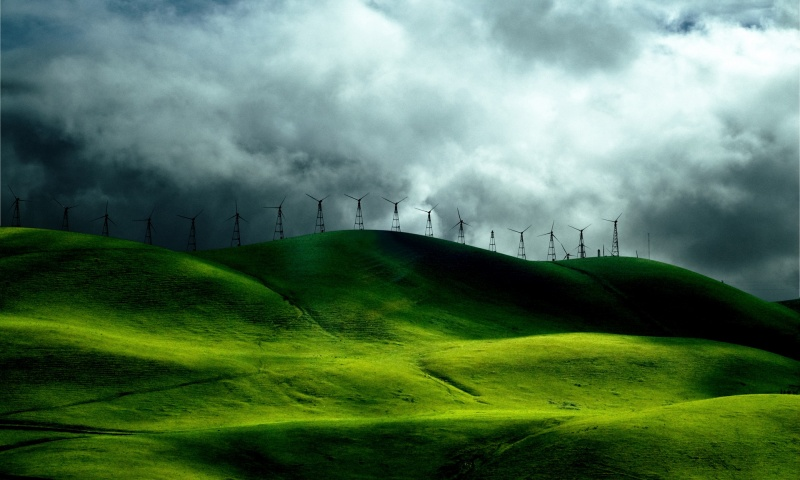 Wind Farm On Green Hills