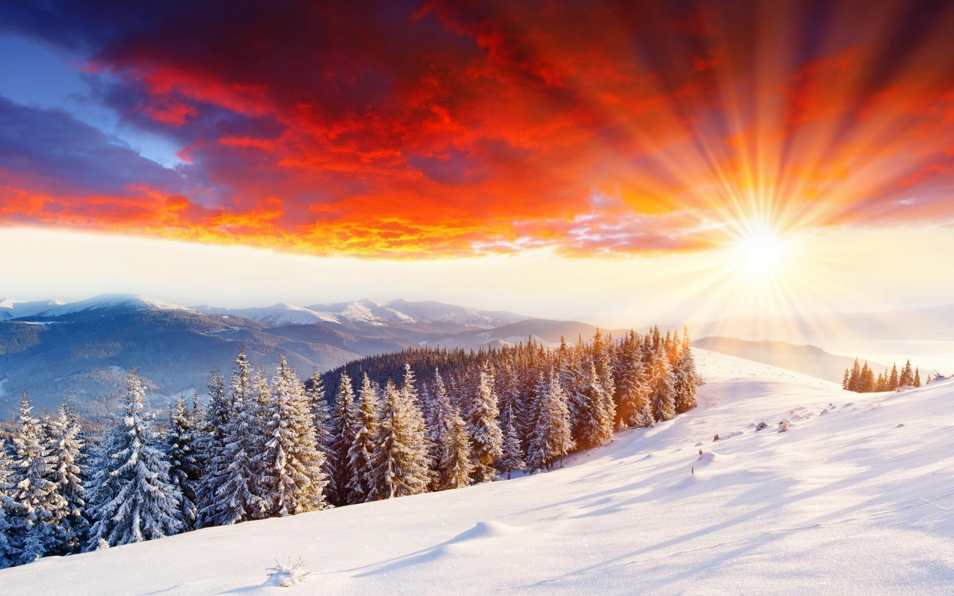 Wonderful Sunset On Snow Mountain Hill