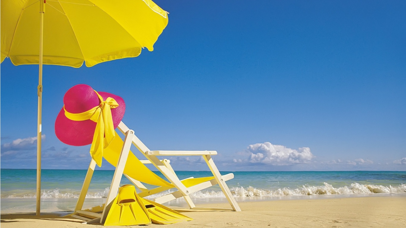 Yellow Beach Chair and Umbrella