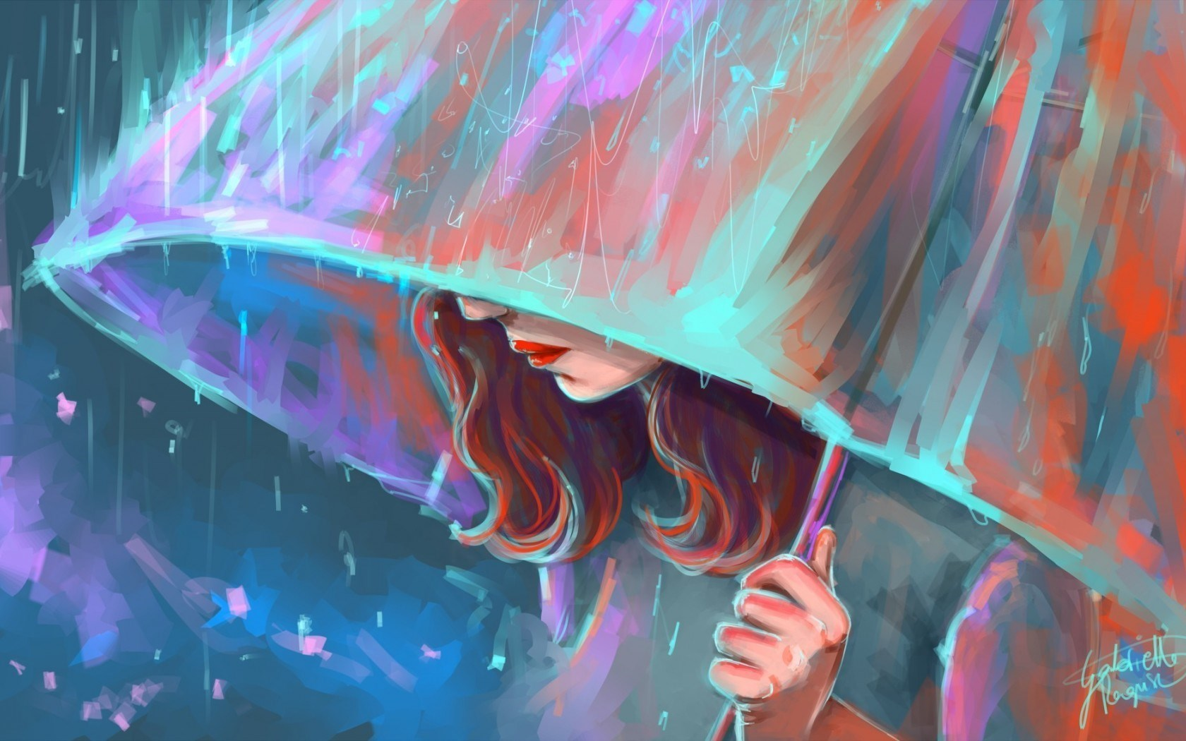 Art Umbrella Rain Girl Wallpapers - Free HD Wallpaper Download