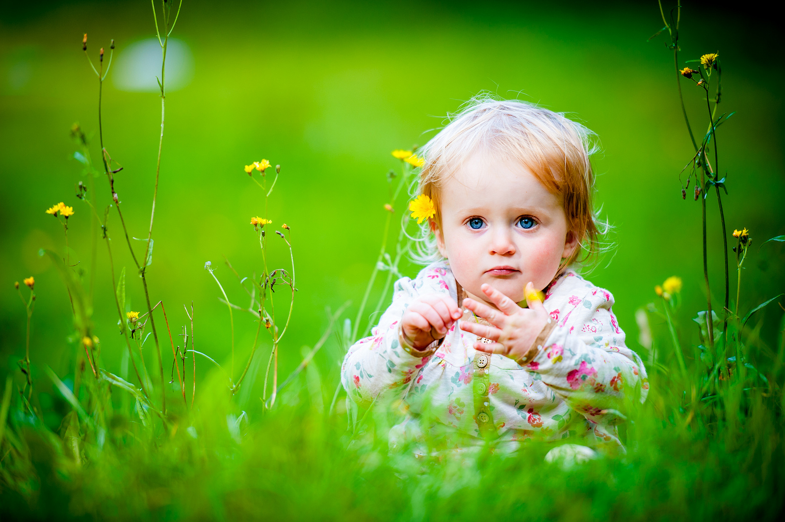 Baby Girl Sitting Grassland Wallpapers