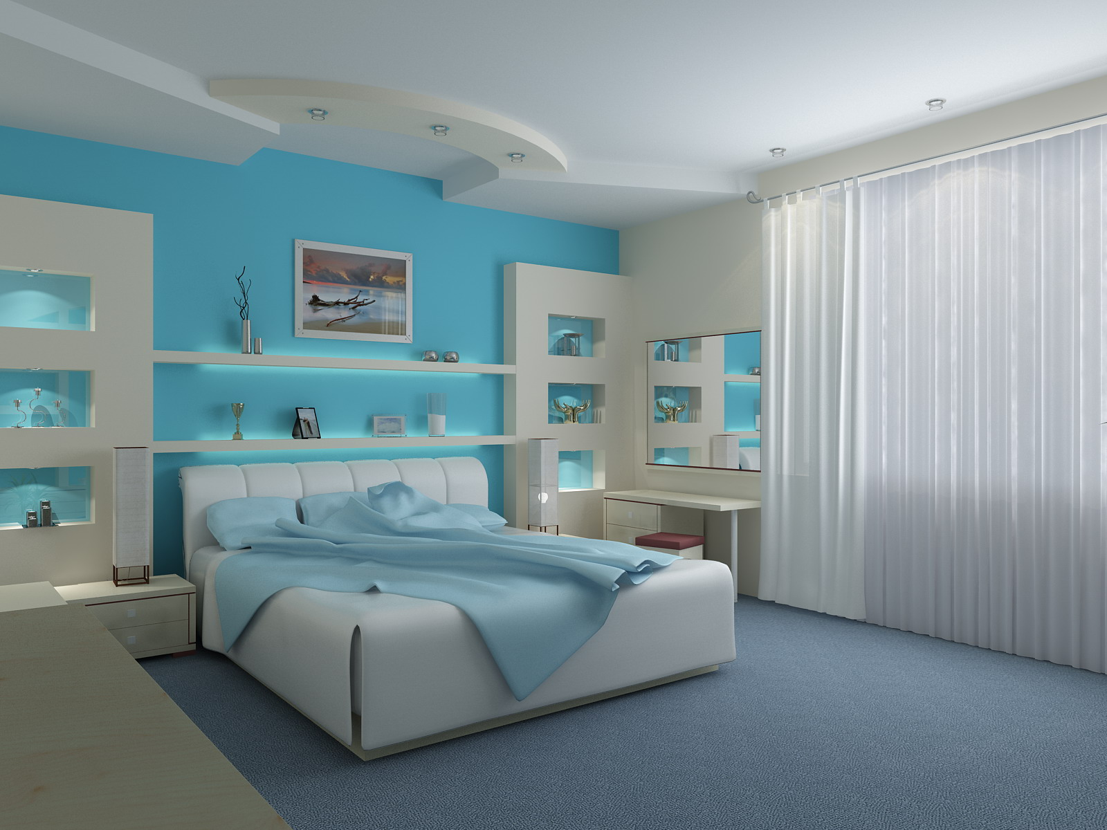 Bedroom Interior Design With Blue Wallpapers , 1600x1200