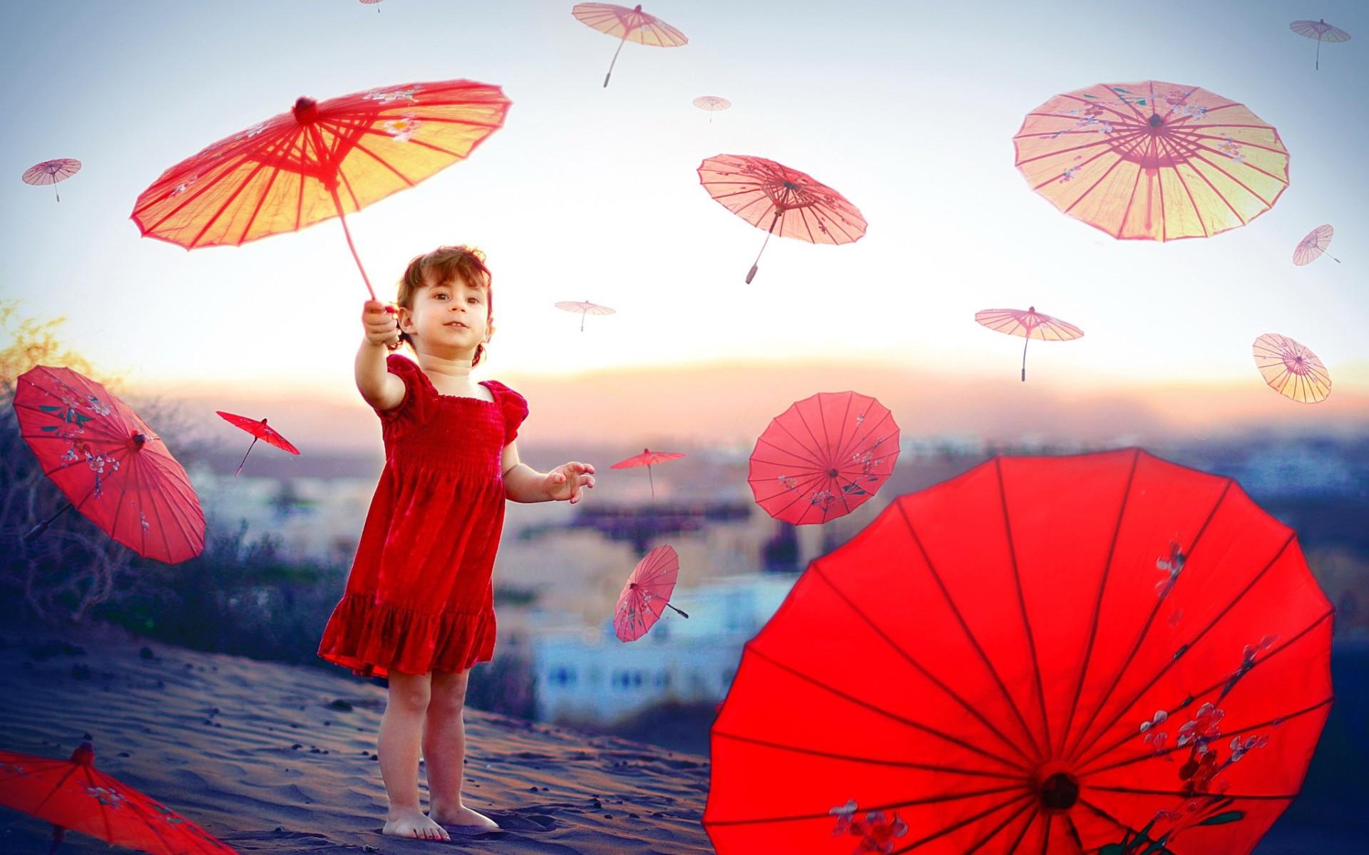 Children Girl And Red Umbrellas