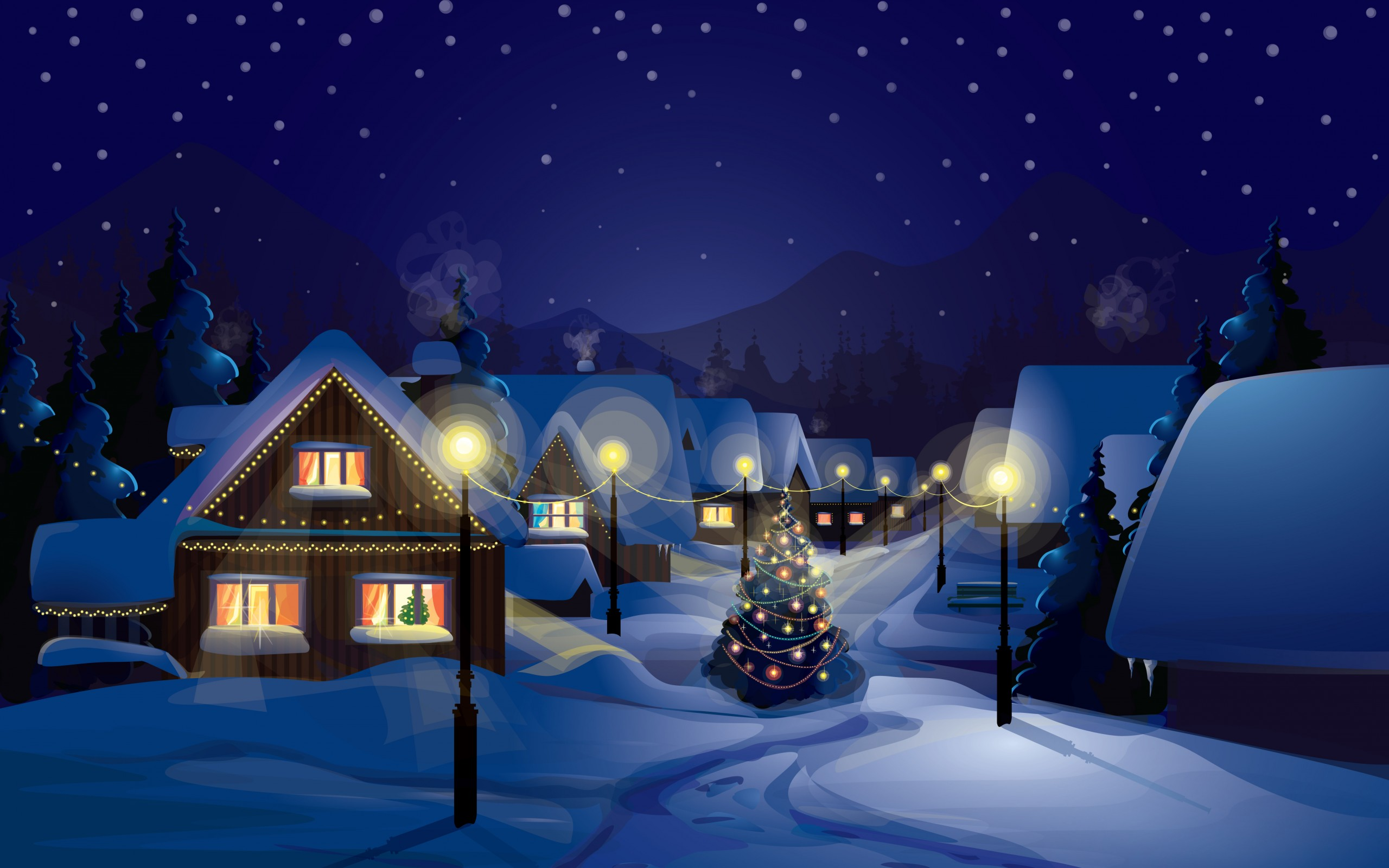 Christmas eve village 2560 x 1600 download close