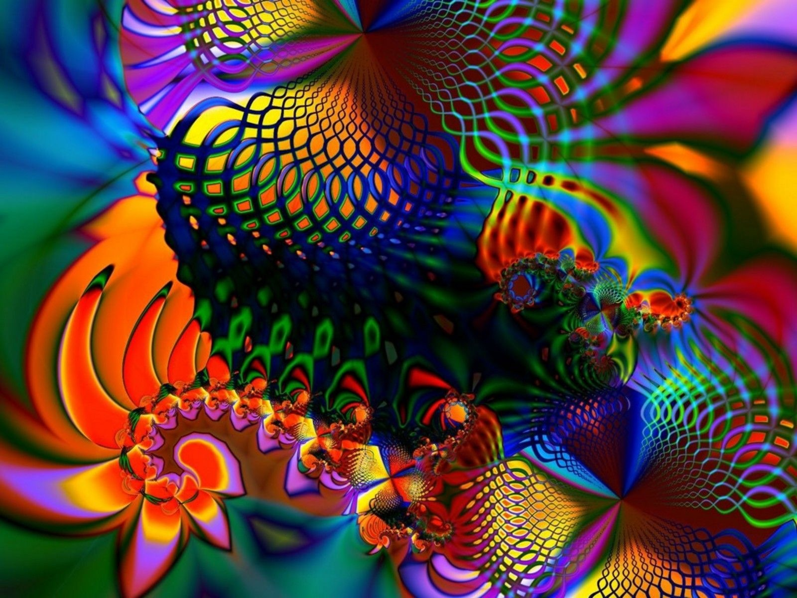 Colored Fractal On Screen Wallpapers