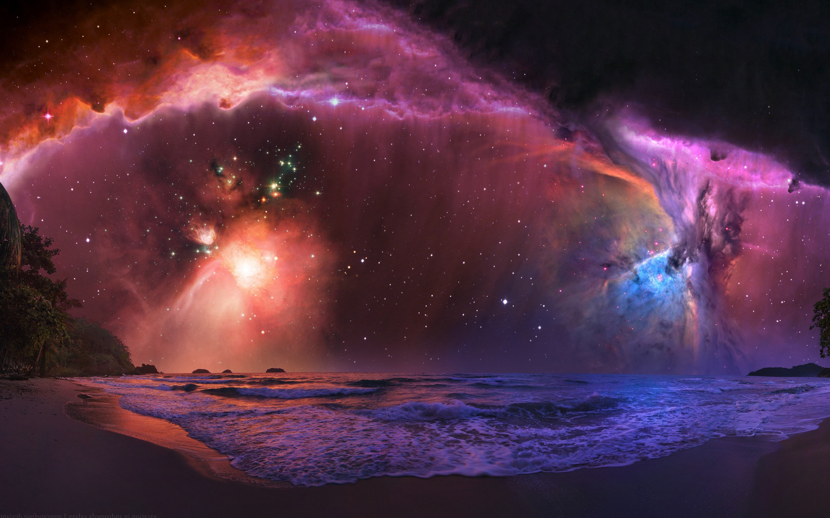 Colorful Beach Nebula Wallpapers - 1680x1050 - 458190