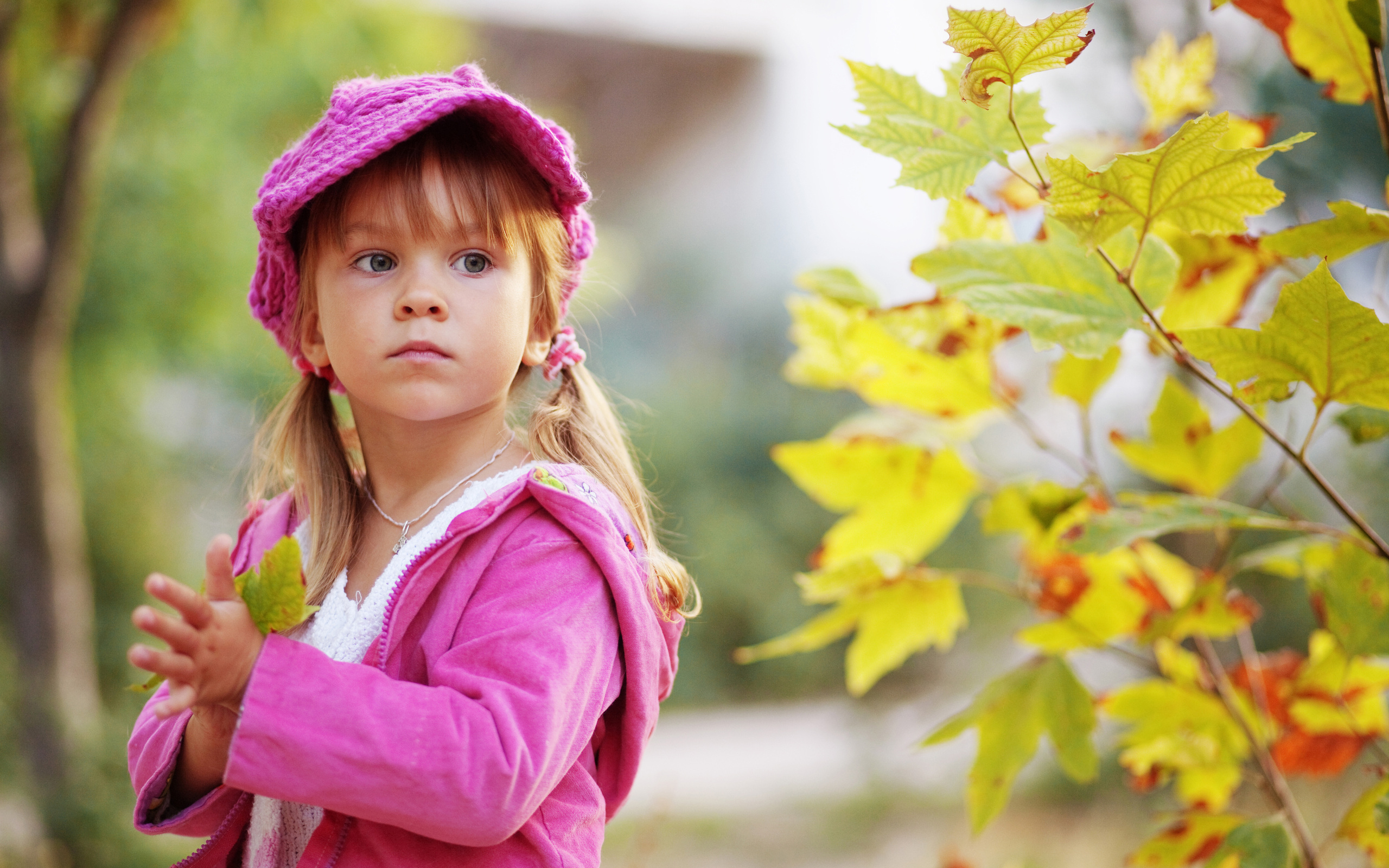 Cute Child Walking In Autumn Park Wallpapers