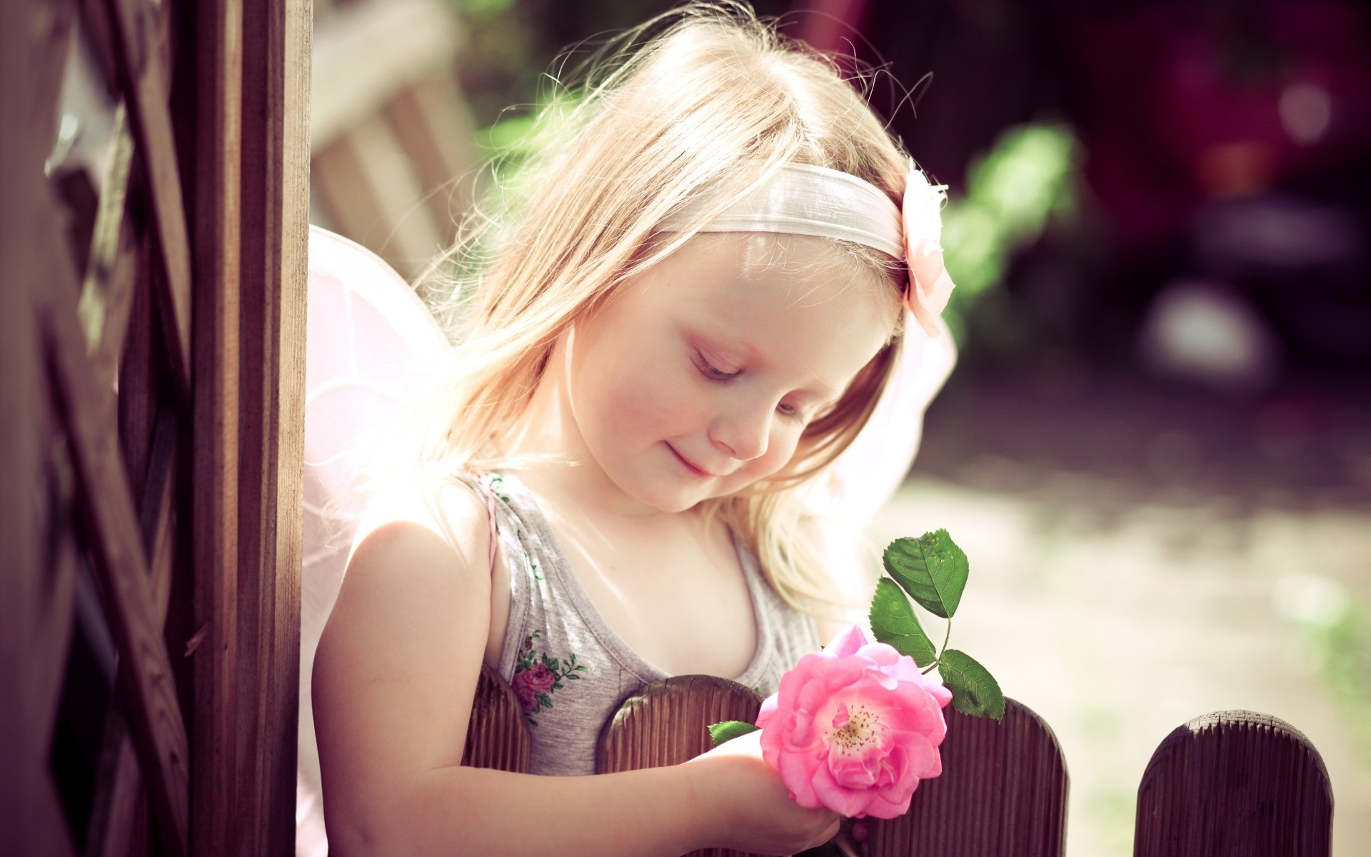 Cute Girl With Rose Cute Girl Holding Pink Rose