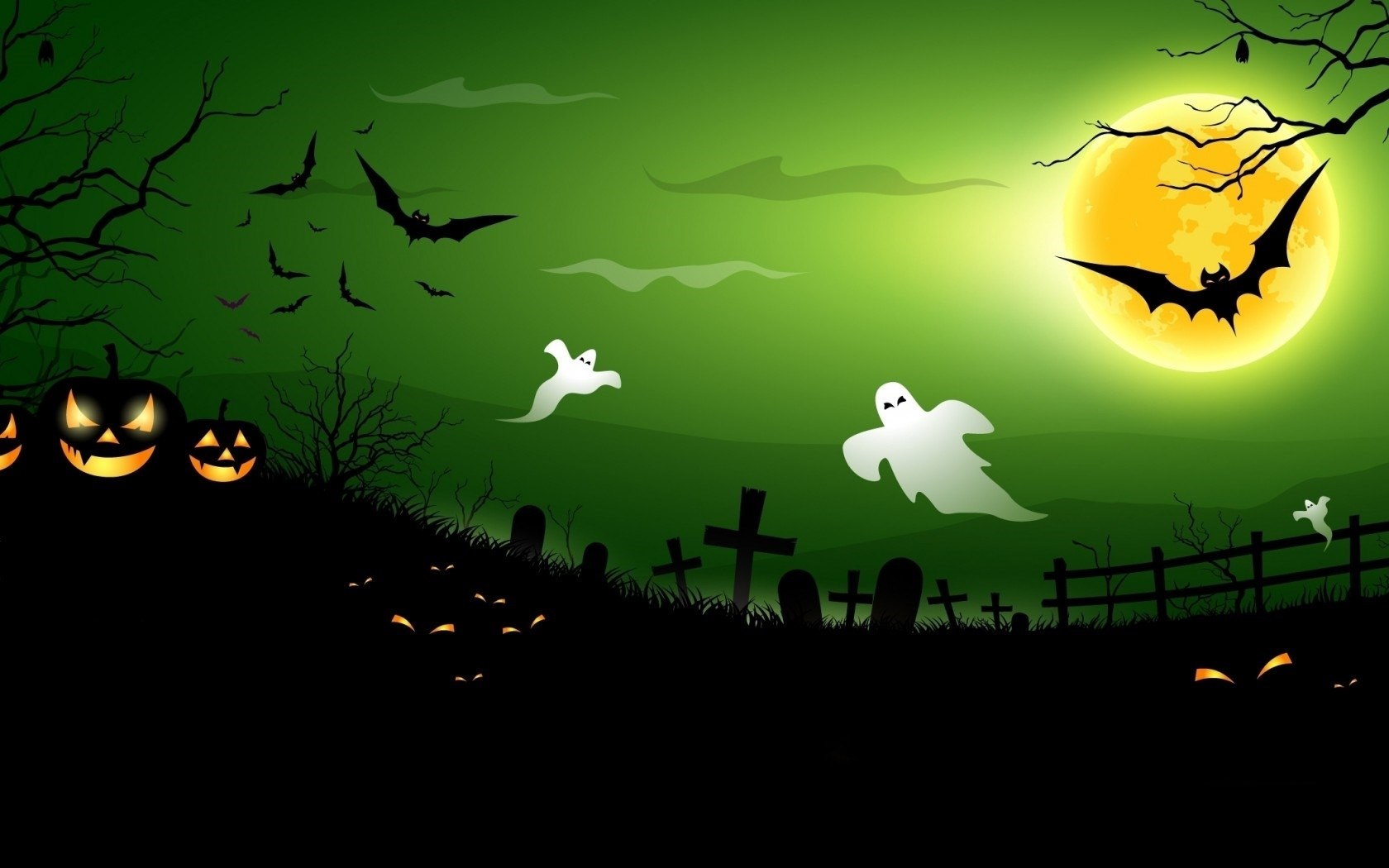 halloween ghosts and bats wallpapers 1680x1050 147701