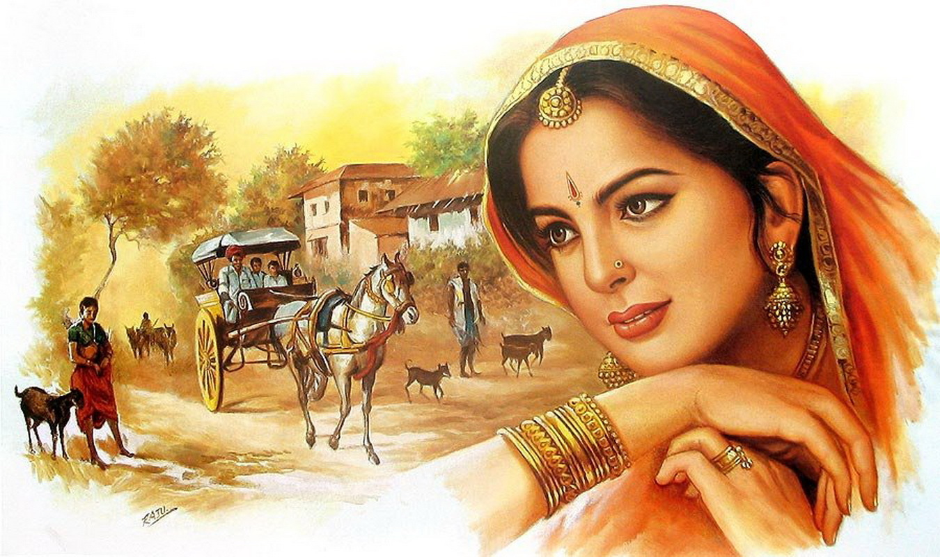 Indian woman wallpapers 1350x800 343466 for 3d mural art in india