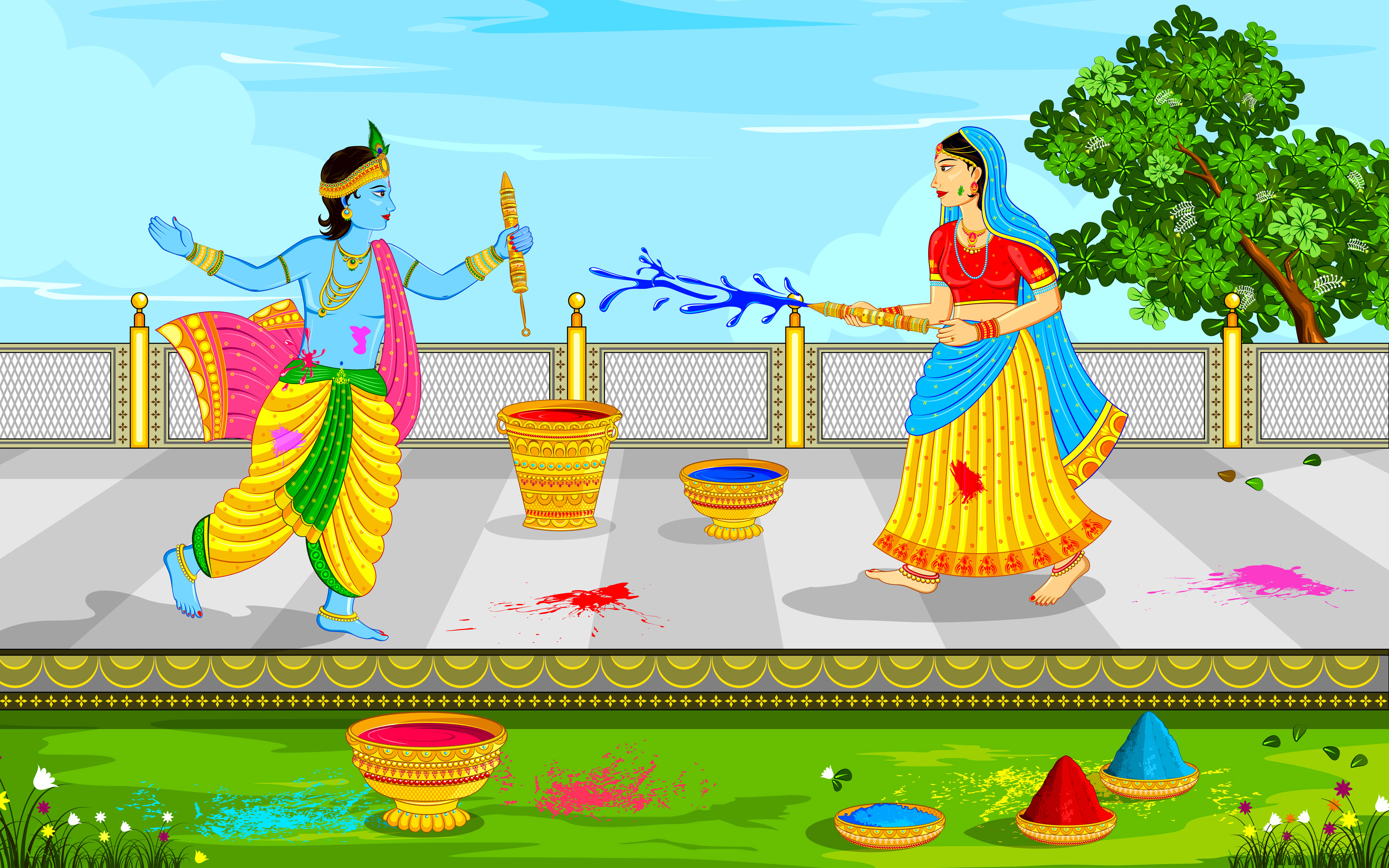 Lord Krishna And Radha Playing Holi Click To View