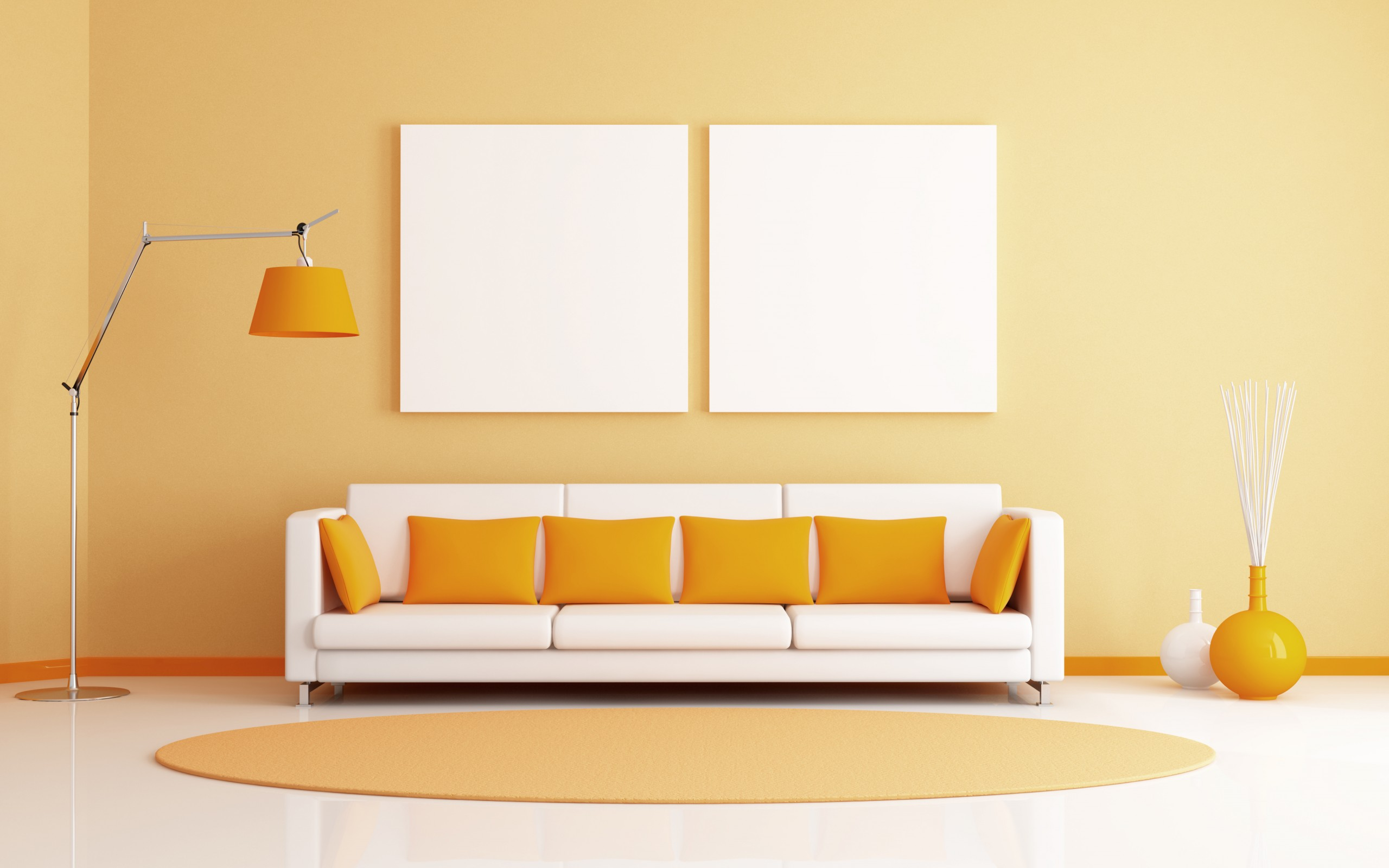orange room sofa and pillows wallpapers - 2560x1600 - 358916