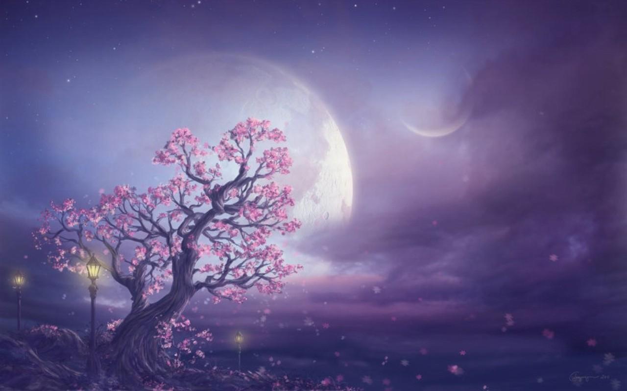 Pink Moon Fantasy Art Wallpapers