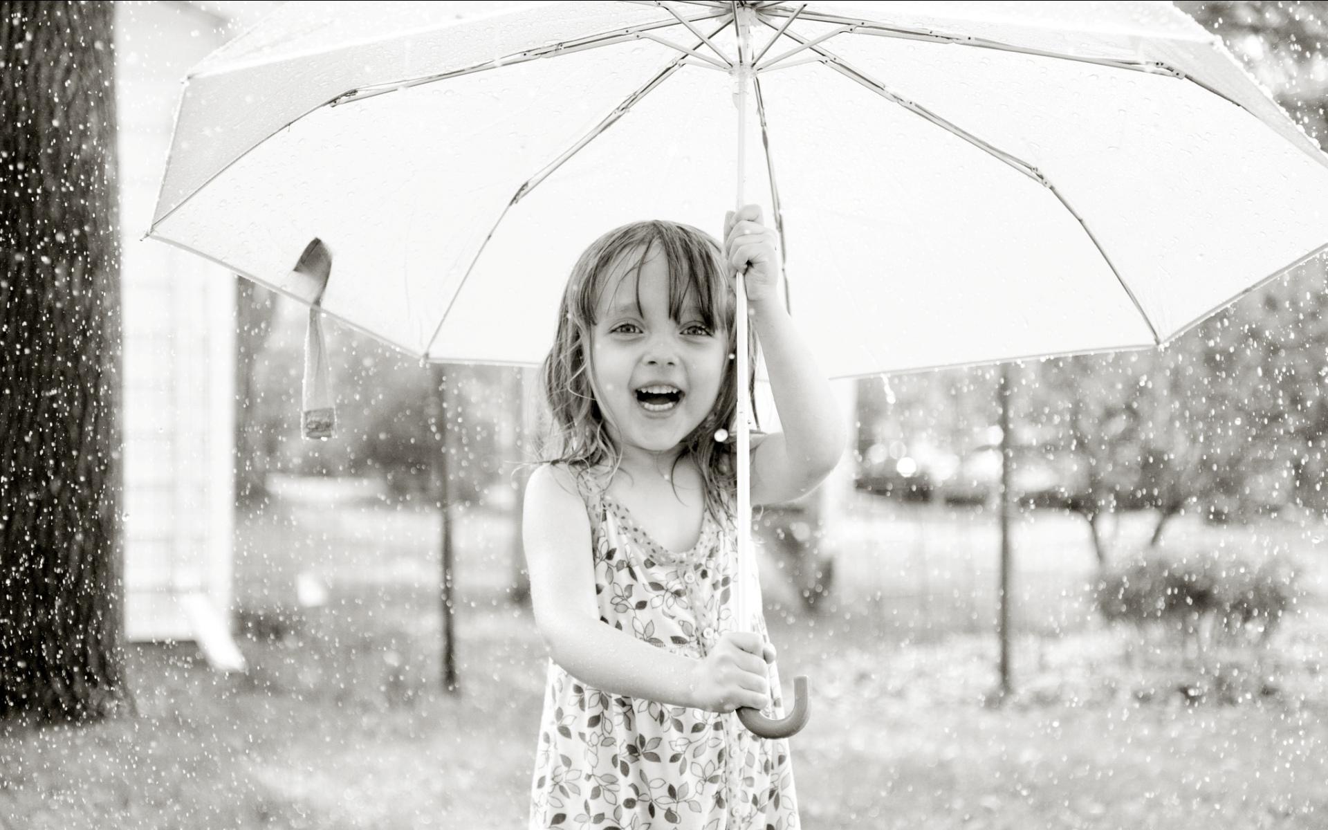 Rain baby with white umbrella 1920 x 1200 download close