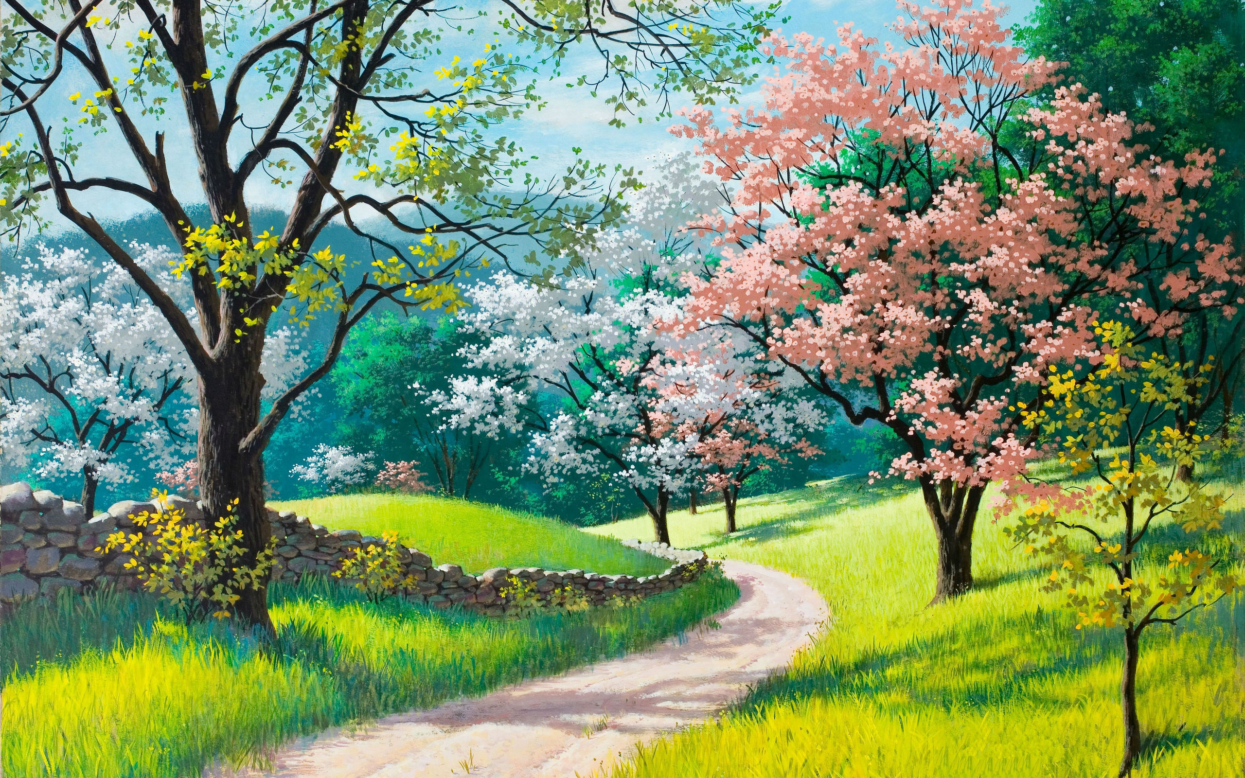 Spring blossoms painting wallpapers 2560x1600 1407502 for Spring canvas paintings