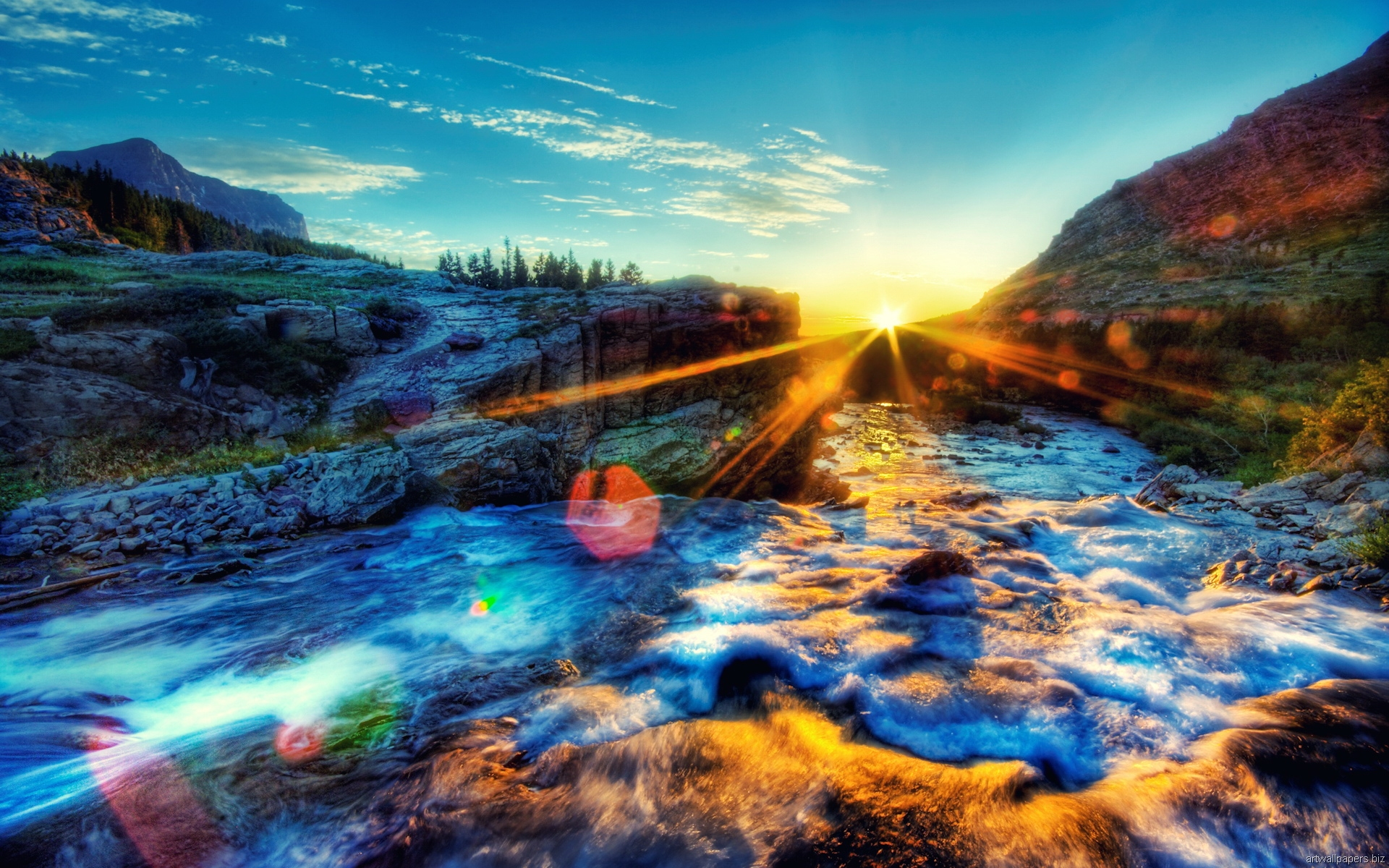 Sunshine Over a River in HDR