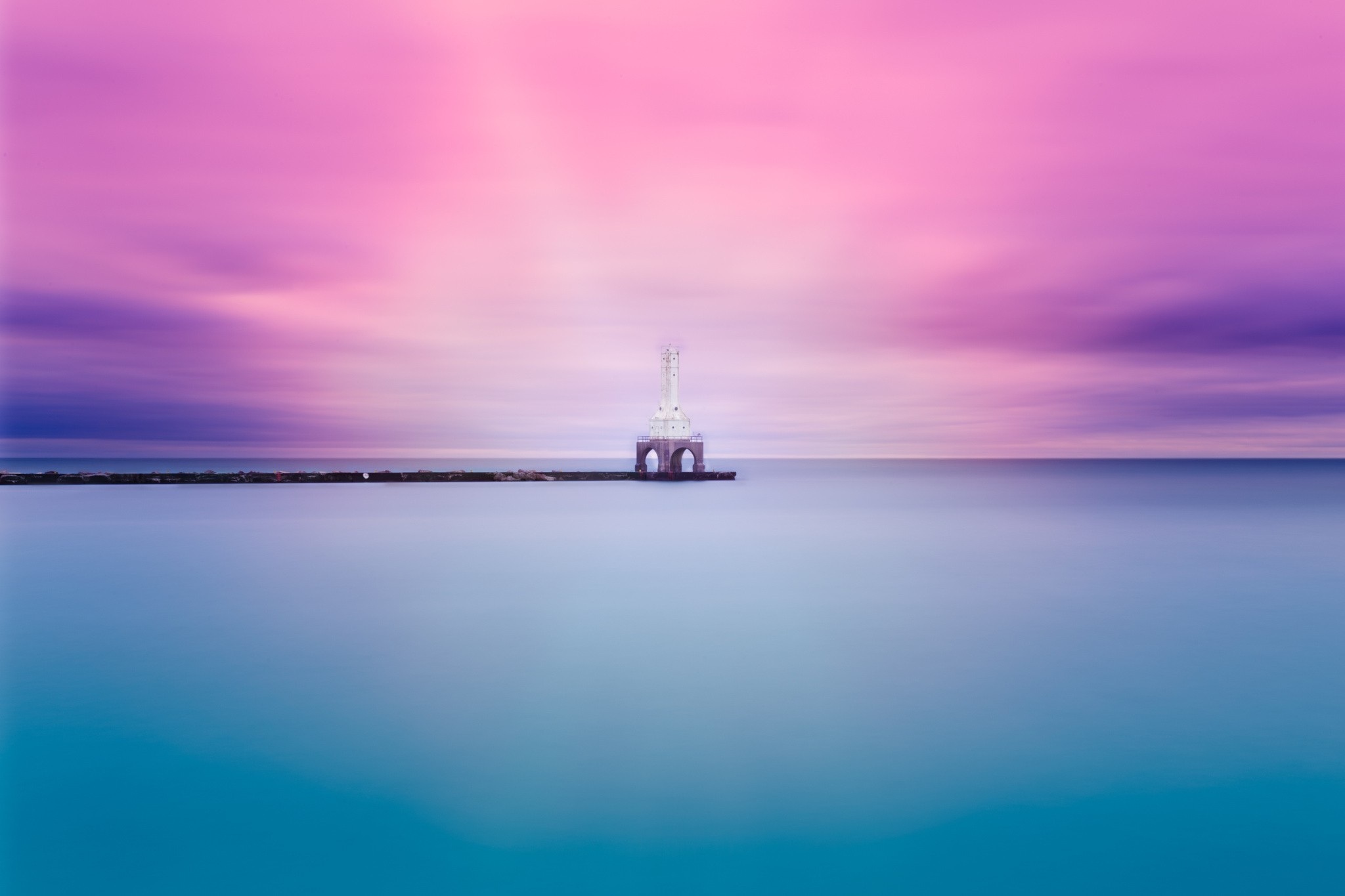 The Blue Water And Pink Sky