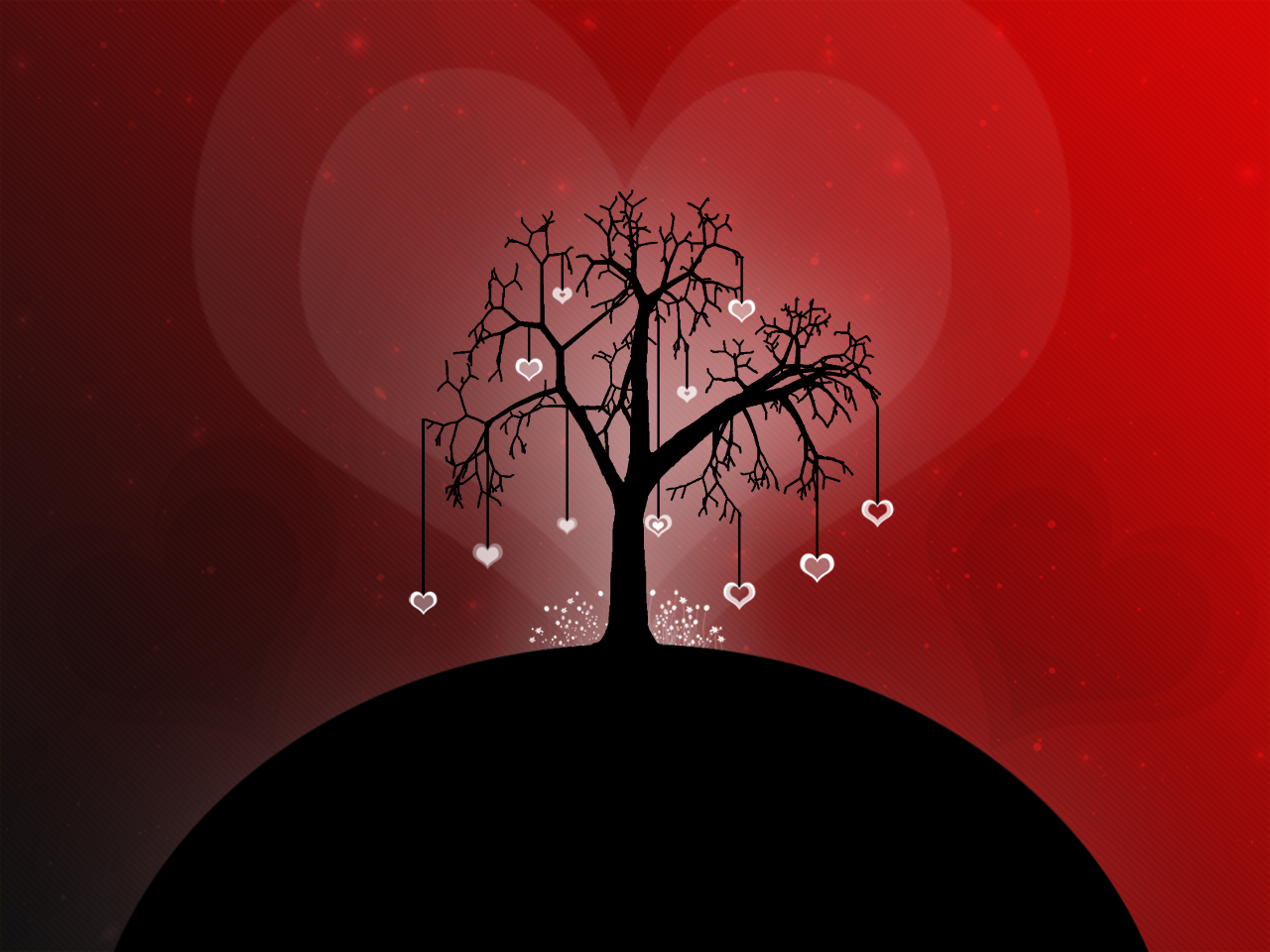Tree Love Hang Hearts