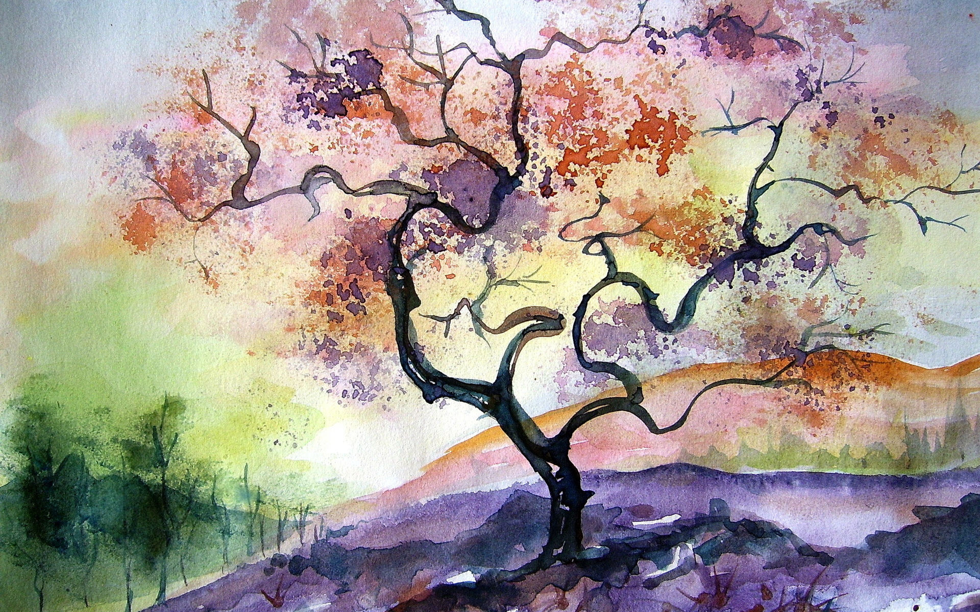 Watercolor Tree Painting Wallpapers