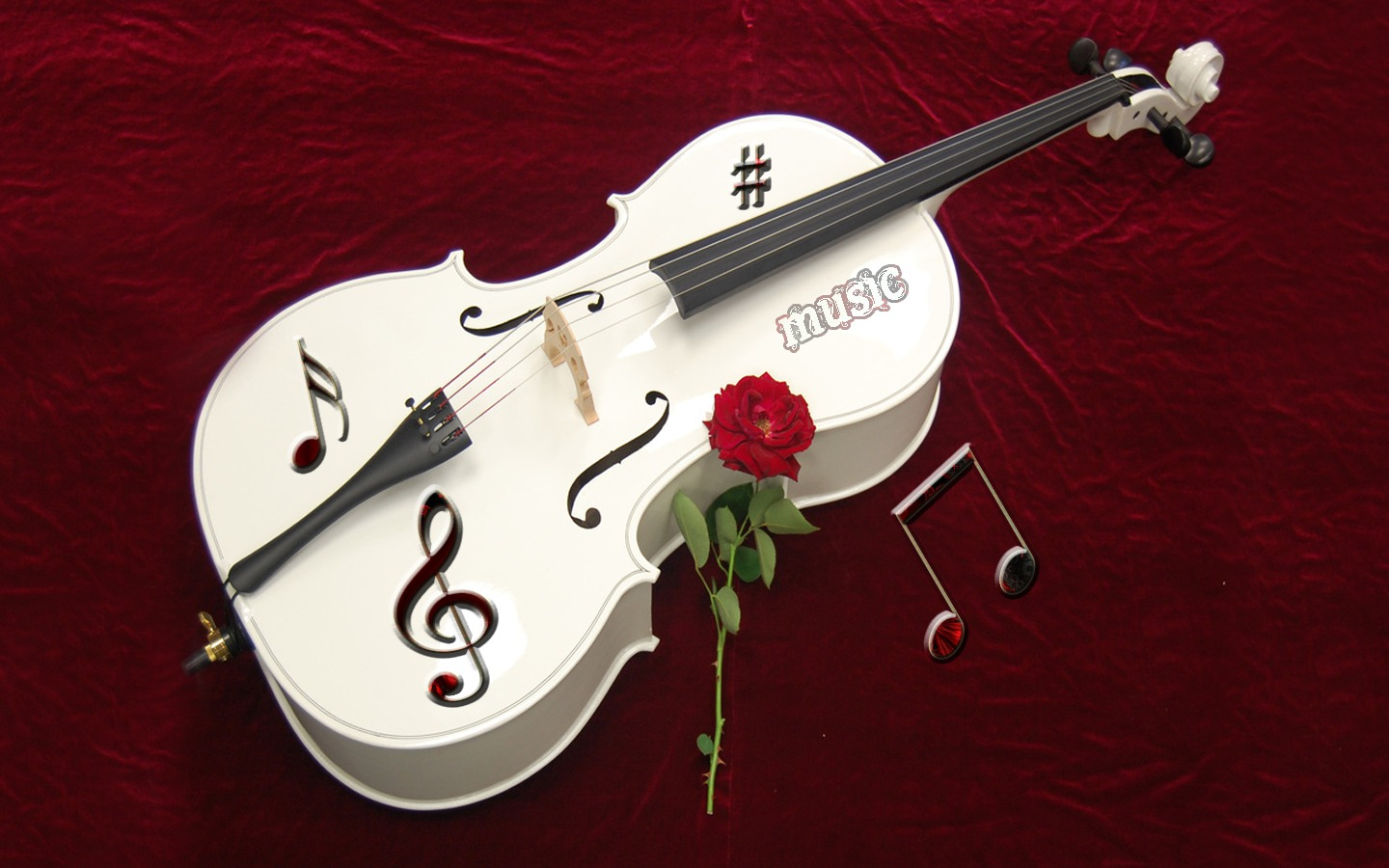 White Violin And Rose Flower Click To View