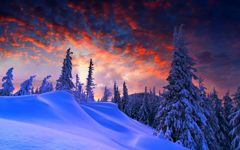 Winter Mountain Sunset Sky Wallpapers