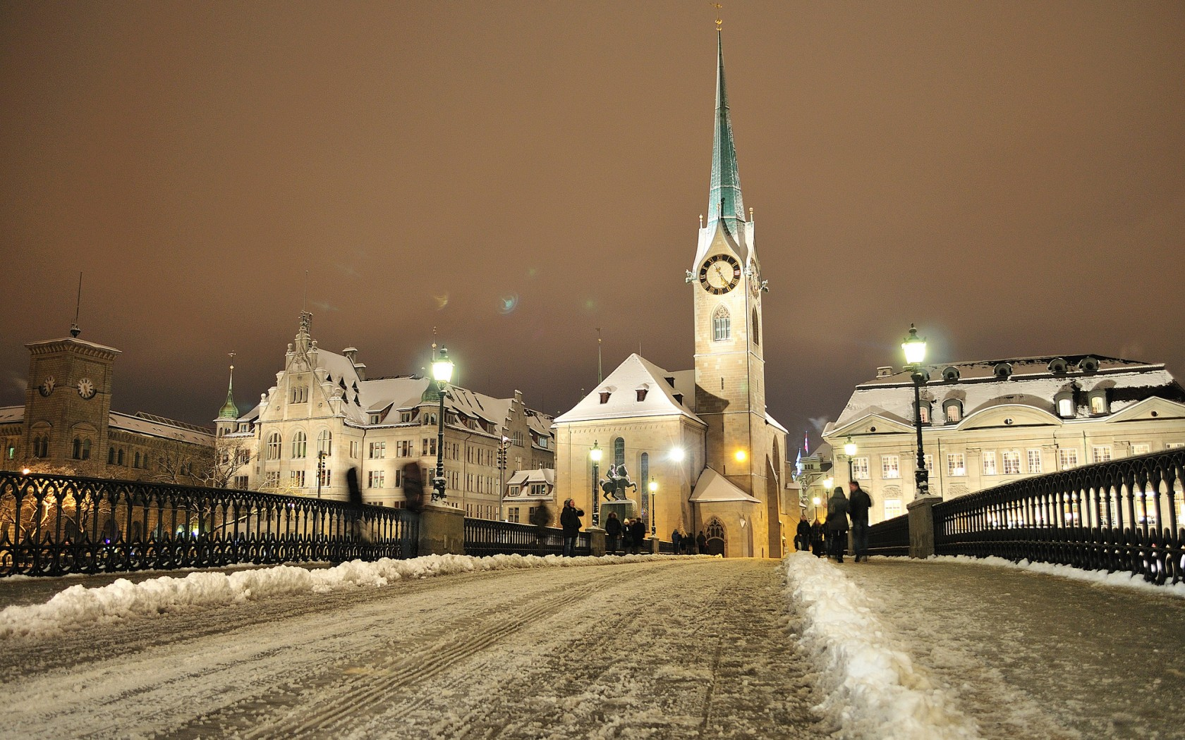 Zurich City Winter Night Switzerland